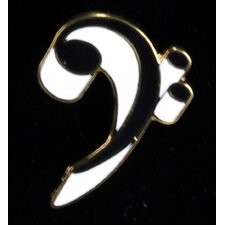 Bass Clef Pin in Gold and White