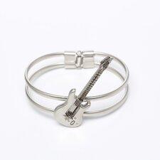 Guitar Bracelet in Matte Silver