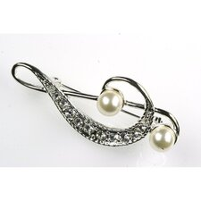 G Clef Stick Pin in Silver with Pearls and Rhinestones