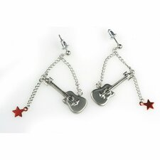 Guitar and Stars Earrings in Silver