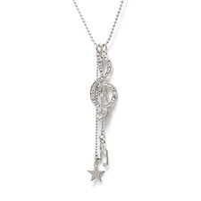 <strong>Noteables</strong> G Clef Jewelry 16th Note Necklace in Silver