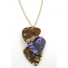 Guitar Pick Necklace in Brown, Purple and Gold