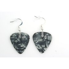 Guitar Pick Earrings in Charcoal with Silver Swirled Charm