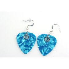 Guitar Pick Earrings in Turquoise with Silver Swirled Charm
