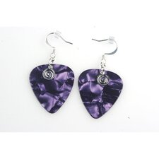 Guitar Pick Earrings in Purple with Silver Swirled Charm