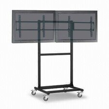 "Adjustable Ergonomic Mobile Dual TV Cart for 32"" - 46"" Screen"