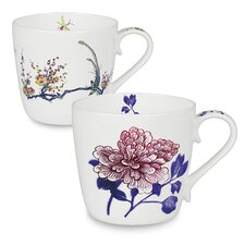 Butler 14 oz. Bone China Peony and Bird Mug Set