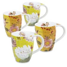 11 oz. Lotus and Fruit Tea Flower Mug (Set of 4)