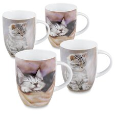 12 oz. Tiger Striped and Sleeping Kitten 4 Piece Mug Set