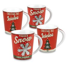 Vintage Christmas 13 oz. Snow and Icicles Mug (Set of 4)