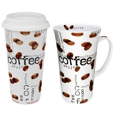 Coffee Collage Mega Coffee To Stay/Go Mugs 2 Piece Set