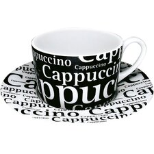 Coffee Shop Cappuccino Writing Cup and Saucer (Set of 4)