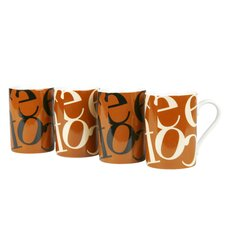 Assorted Script Collage Mug (Set of 4)
