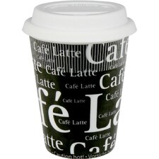 Travel Cafe Latte Writing Mug in Black (Set of 2)