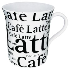 <strong>Konitz</strong> Coffee Shop Cafe Latte Writing Mug in White (Set of 4)