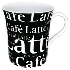 Coffee Shop Cafe Latte Writing Mug in Black (Set of 4)