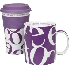 Script Collage Coffee To Stay/Go Mugs (Set of 2)