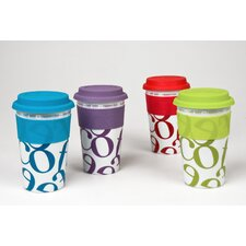 <strong>Konitz</strong> Script Collage Assorted Colors Medium Travel Tumblers Coffee Mug (Set of 4)