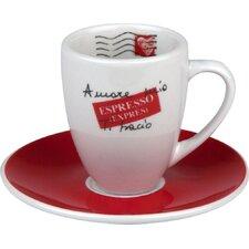 Coffee Bar Amore Mio 3 oz. Espresso Doppio Cup and Saucer (Set of 4)