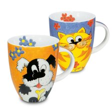 Cats and Dogs Cuddle Toys Mug (Set of 4)