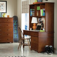 "Woodridge 53"" W Writing Desk with Hutch and Bow Back Desk Chair"