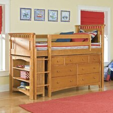 Bennington Twin Low Loft Bed with Bookcase and Essex Dresser