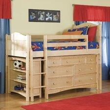 <strong>Bolton Furniture</strong> Cottage Twin Low Loft Bed with Bookcase and Wakefield Dresser