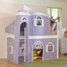 Windsor Twin Low Loft Bed with Castle Tent and Built-In Ladder