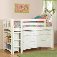 Windsor Twin Low Loft Bed with Bookcase and Essex Dresser