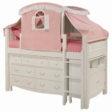 Emma Twin Low Loft Bed with 7 Drawer Tent and Storage
