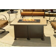 "Casual Fireside Santornini 30"" x 50"" Rectangle Fire Pit with Mocha Tile"