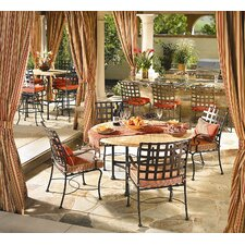 Hacienda Cast Aluminum Table with Umbrella Hole Dining Set