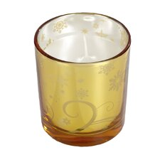 Christmas Metallic Glass Votive Holders with Candles (Set of 6)