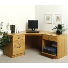 Home Office Solutions Computer Desk with Pedestal and Printer Storage