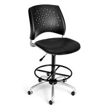 Height Adjustable Swivel Stool with Lumbar Support