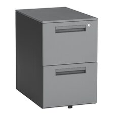 Executive Series Mobile Pedestal File Cabinet with 2 Drawers in Dark Gray