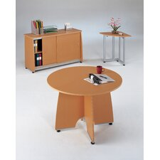 Round Conference Table with Sliding Door Credenza and Optional Chairs