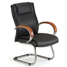 Leather Chair with Sled Base