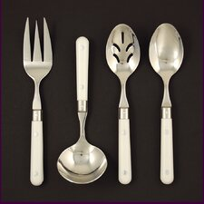 Stainless Steel LePrix 4 Piece Hostess Set in White