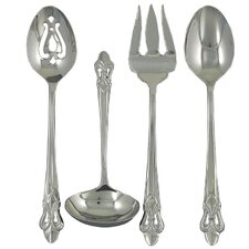 Stainless Steel Fleur de Lis 4 Piece Hostess Set