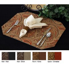 <strong>Pacific Table Linens</strong> Timeless Paisley Reversible Rectangle Placemat (Set of 2)