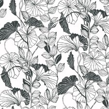 <strong>York Wallcoverings</strong> Leaf Outline Floral Botanical Wallpaper