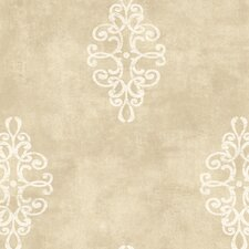 Natural Radiance Ironwork Medallion Damask Wallpaper