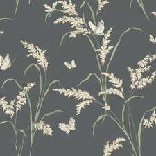 Tall Grass Butterflies Floral Botanical Wallpaper
