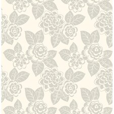 Candice Olson Dimensional Surfaces Floral Botanical Flocked Wallpaper