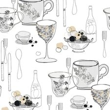 Bistro 750 Graphic Tableware Food Beverage Wallpaper