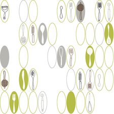 Bistro 750 Kitchen Utensils and Ovals Prepasted Wallpaper