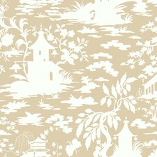 <strong>York Wallcoverings</strong> Silhouettes Asian Scenic Toile Wallpaper
