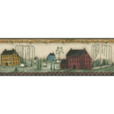Mural Portfolio II Folk Art with Salt Box Houses Scenic Border Wallpaper