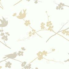 Silhouettes Cherry Blossom Bird Wallpaper